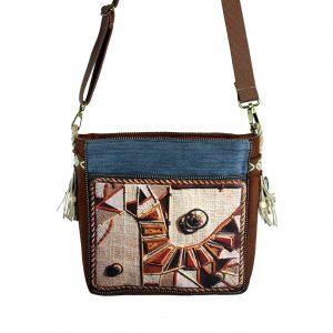 niebiesko-brązowa torebka
