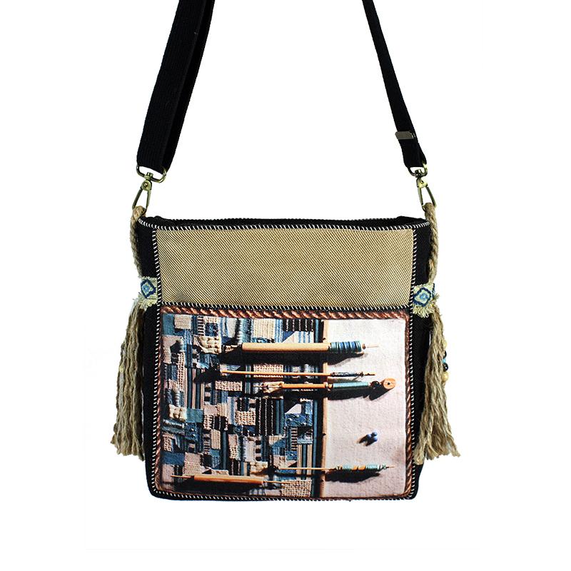 niebiesko - beżowa torebka