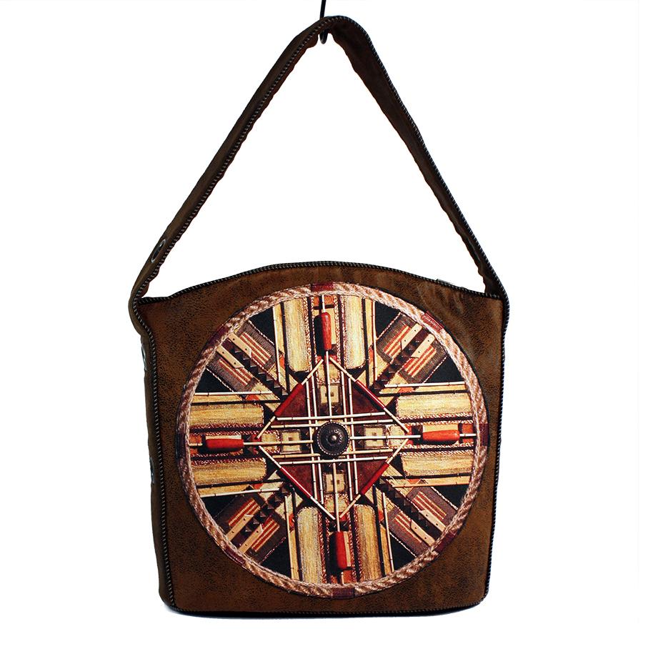 Rudobrązowa etniczna damska torebka XL
