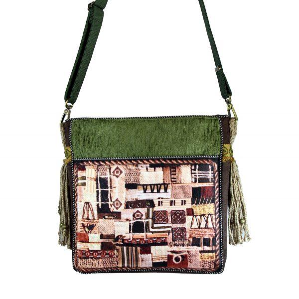 torebka z oliwkowej tkaniny i brązowego eko zamszu